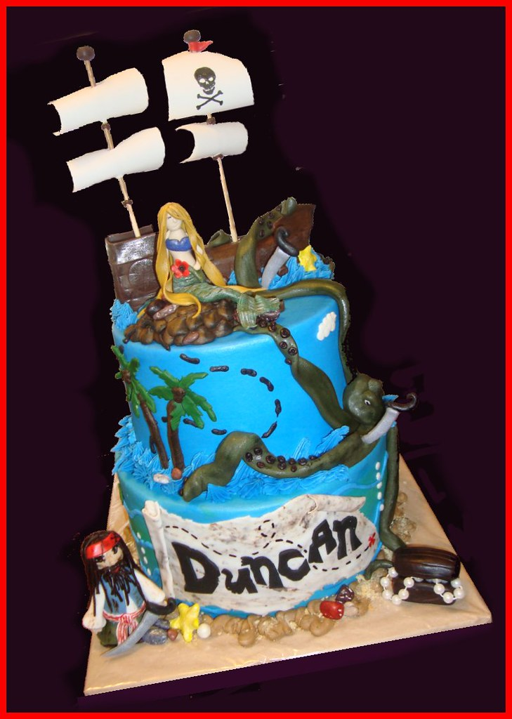 Wondrous Pirates Of The Caribbean Cake For Duncan Atasteofwhimsy Flickr Funny Birthday Cards Online Aeocydamsfinfo
