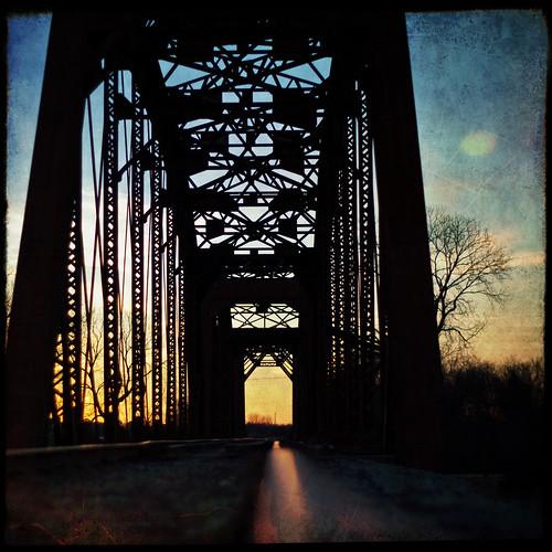 railroad bridge sunset train tracks rusty textured explored yeahtwo ihadtowalkpasttwodeaddogstogettothisspot