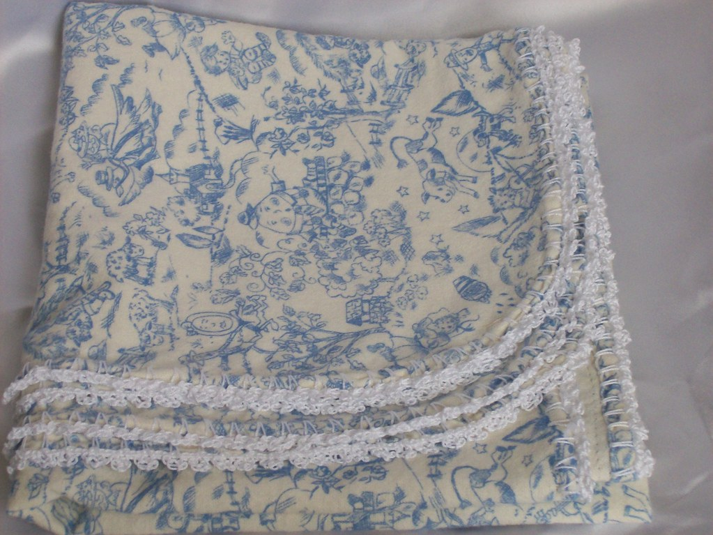 Blue Flannel Baby Blanket With Crochet Edging Blue Flannel Flickr