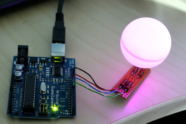 Arduino driving RGB LED in ping-pong ball