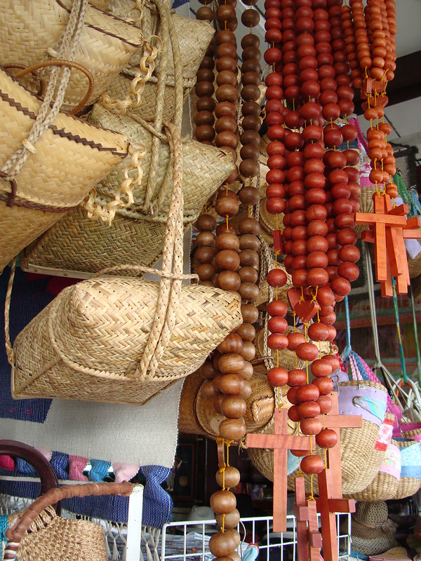 baguio backpack and oversized wood rosary beads