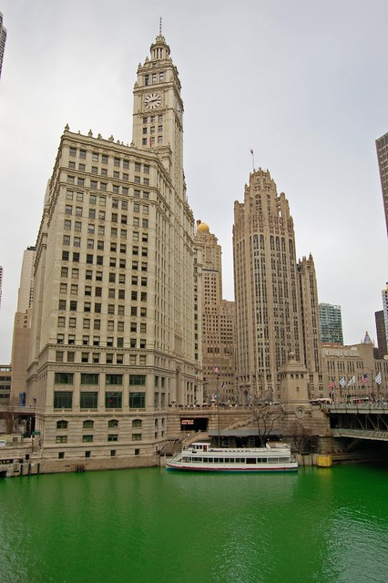 Wrigley Building with Green River