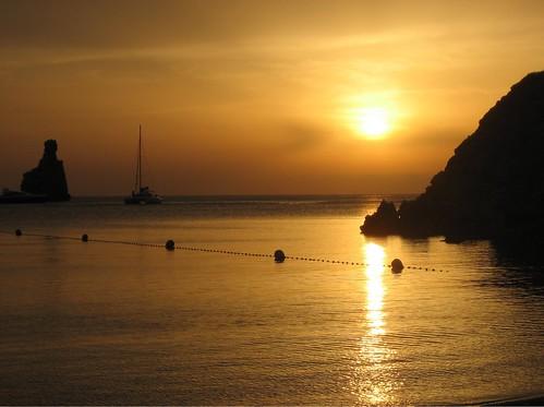 Golden sunset at Cala Benirras, Ibiza