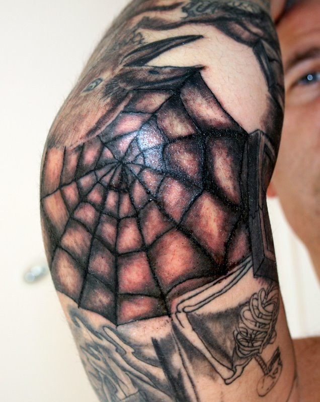 32bd69e8a7fe7 Spiderweb Tattoo on the Elbow Session 7 | A very painful exp… | Flickr