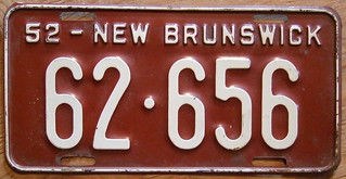 NEW BRUNSWICK 1952 license plate
