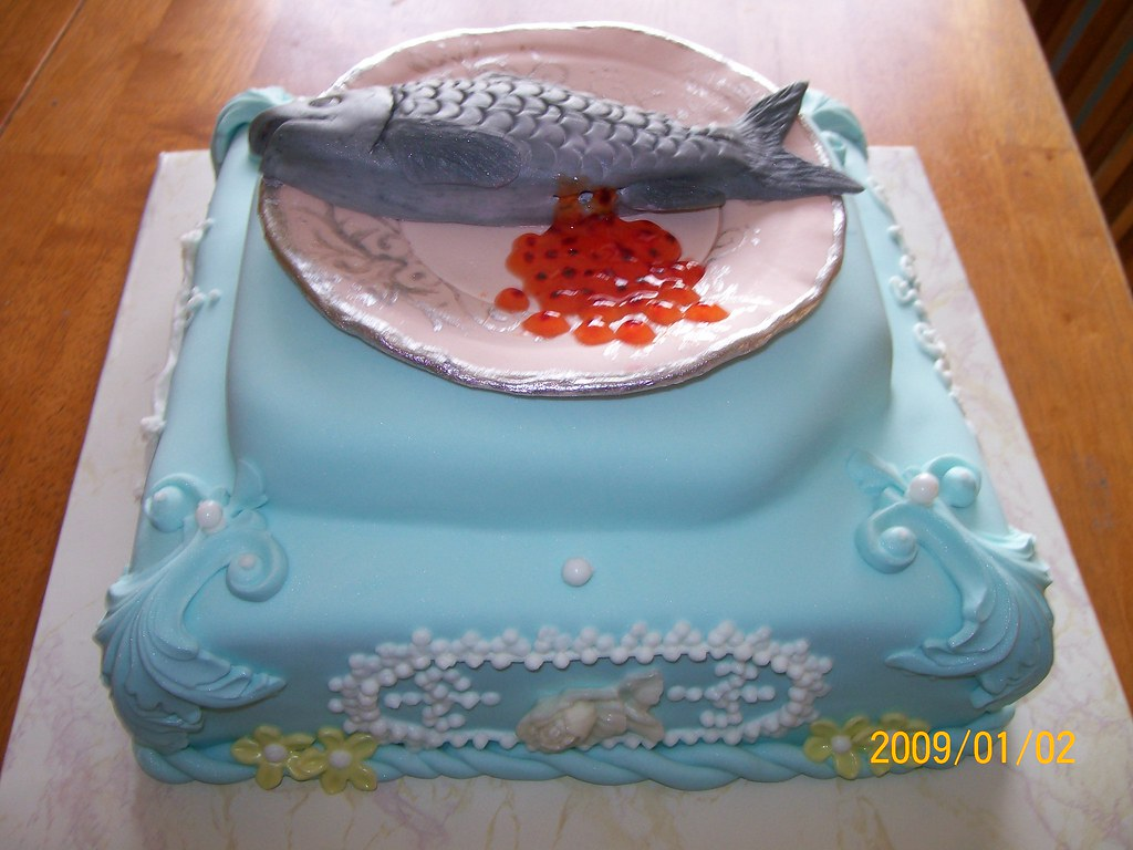 Astounding Salmon Birthday Cake Happy Birthday To Me And Mikiko We L Flickr Birthday Cards Printable Opercafe Filternl
