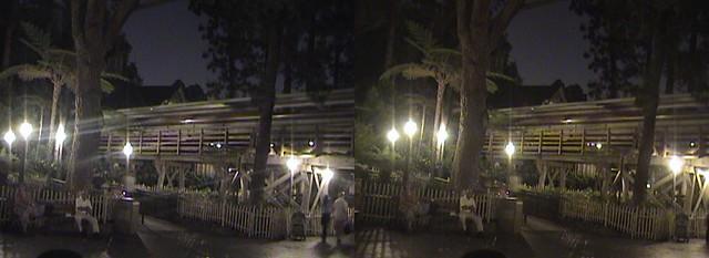 3D, Disneyland Railroad Train Trestle, Critter Country, Disneyland®, Anaheim, California, night, 2008.08.08 22:42