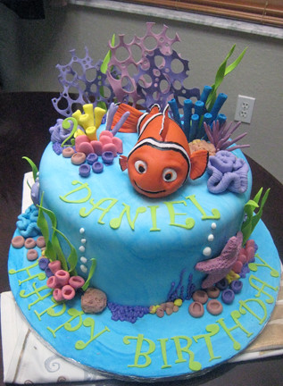 Terrific Nemo Birthday Cake Nemo Is Hand Modelled From Rice Krispee Flickr Funny Birthday Cards Online Elaedamsfinfo