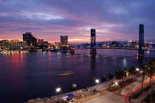 city sunset night cityscape florida cloudy jacksonville riverwalk stjohnsriver jacksonvillefl