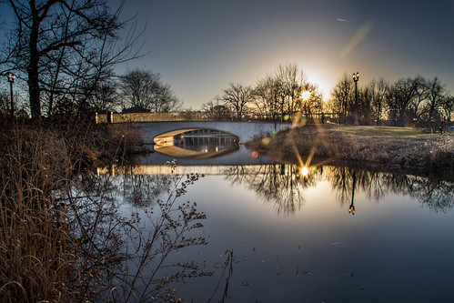 canoneos5dmarkiv bridge forestpark sunrise dawn reflection misuri misouri december grass