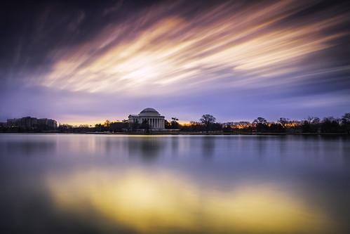 washingtondc tidalbasin jeffersonmonument longexposure sunrise dawn bluehour neutraldensity leefilters bigstopper tranquil couds outdoors thomasjefferson freedom districtofcolumbia diviededcongress taxataionwithoutrepresentation stopthemadness luminosity softlight sliderssunday