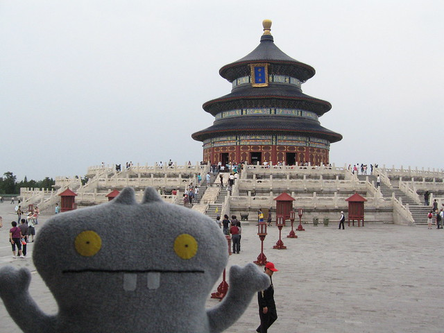 Traveling Babo visits the Temple of Heaven, Beijing, China.