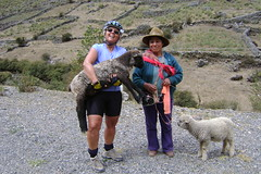 Our friend Julia shows Nancy how to hold a lamb