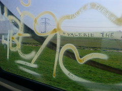 graffiti on train window