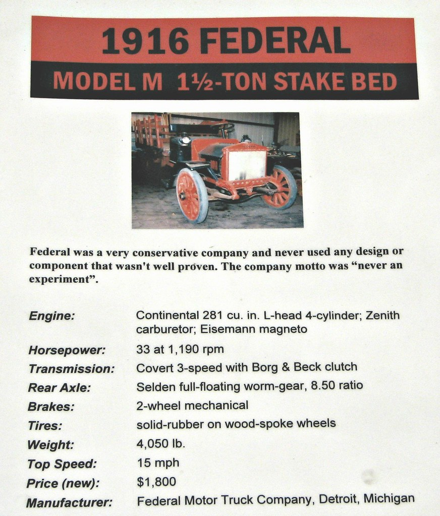 1916 Federal Model M 1½ Ton Stake Bed Info | Photohraphed at