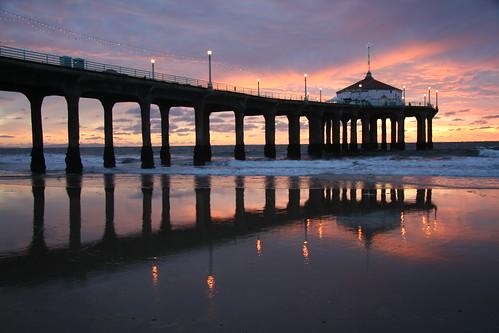 california sunset usa reflection pier manhattanbeach reflexions refexions platinumphoto