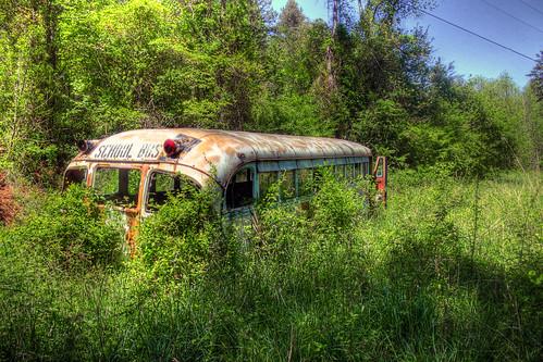 abandoned april schoolbus hdr 2010
