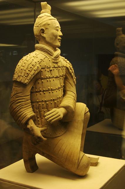 Kneeling warrior - Full-size terracotta statue. Xi'an, China, 2008.