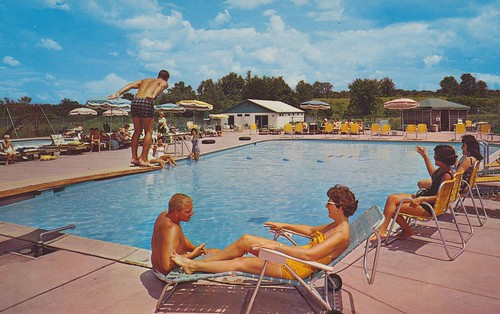 newyork pool vintage postcard motel aaa dewitt divingboard qualityinn johnmilton duncanhines