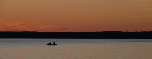 sunset silhouette landscape fishing fishermen michigan cadillac lakemitchell lakemitchel