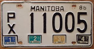 MANITOBA 1988 QUARTERLY TRUCK plate