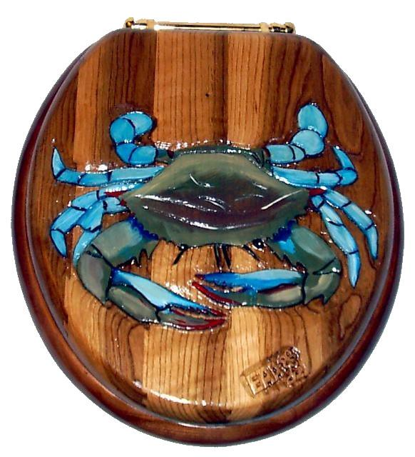 Stupendous Blue Crab Carved Wood Toilet Seat See These And More At Ww Lamtechconsult Wood Chair Design Ideas Lamtechconsultcom