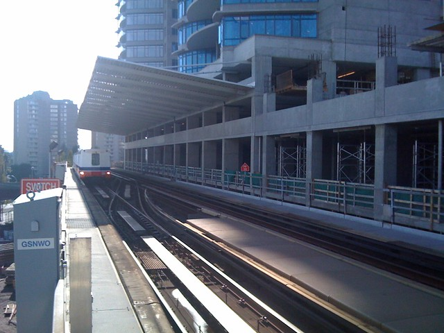 SkyTrain arrives at New Westminster Station