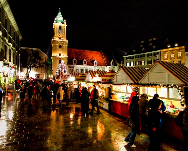 Christmas Bratislava.Bratislava Christmas Market Rainy Evening In Bratislava S