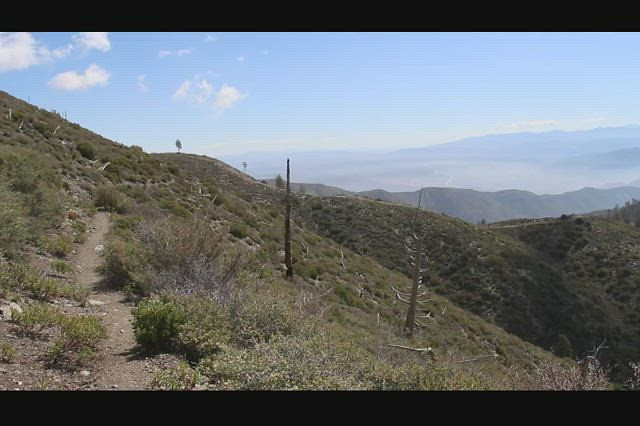 0609 Panorama video from the PCT on Upper Lytle Creek Ridge as we hike downhill east of Wright Mountain