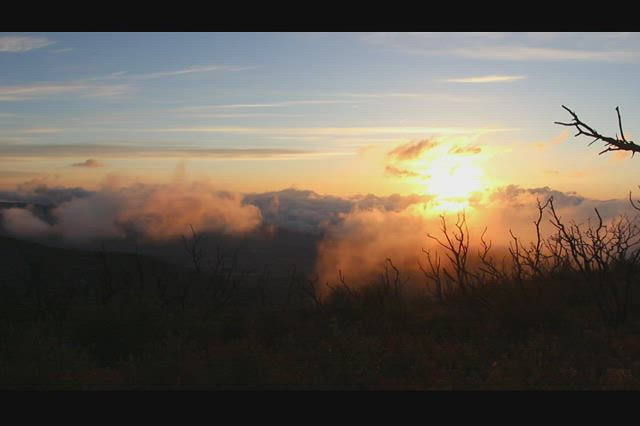 0892 Video of windy swirling clouds at dawn from Upper Lytle Creek Ridge on the PCT