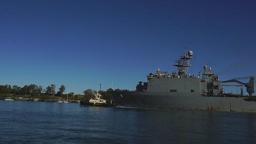 US Navy Ship 48 USS Ashland leaving Port of Brisbane June2019-1