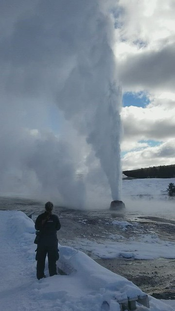 Steamboat Geysir erupting in Yellowstone