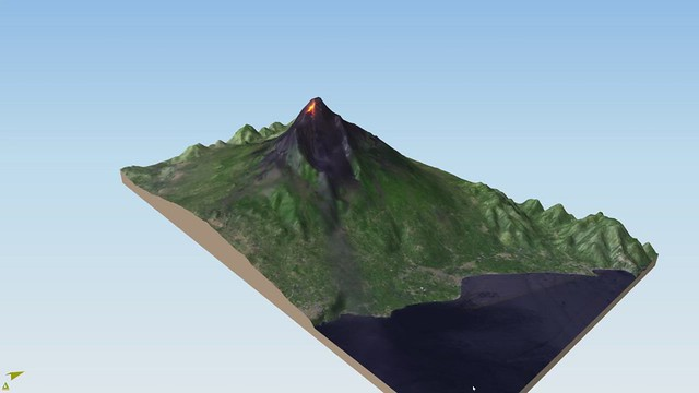 Mount Etna Volcano 3D rotation showing lava flows, based on a Sentinel-2 image from July 27th, 2019