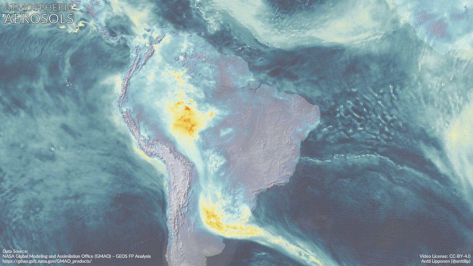 Atmospheric aerosols over South America 8 - 22 August 2019