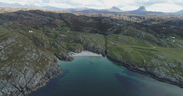 Drone footage above the village of Achmelvich