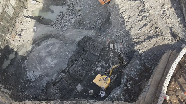 Rock Blasting Seen from 14 Storeys Up