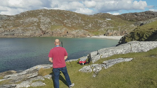 Drone flying at Achmelvich before falling into the sea