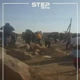 رشق دورية تركية روسية بالحجارة في هين عرب كوباني