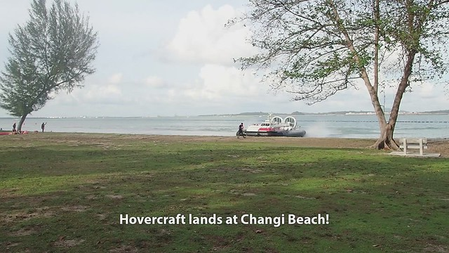 Two huge hovercrafts land on Changi Beach