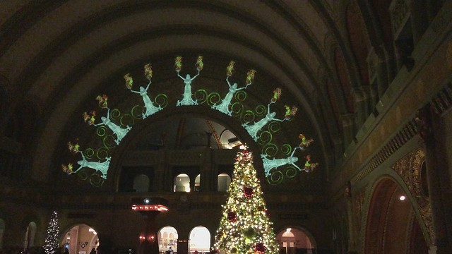 Christmas light show at union station.
