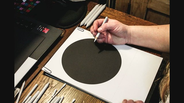 Sketching a 30% Waning Crescent Moon