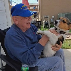 A smiling #Vietnam combat #veteran and our #corgi pup. Priceless.