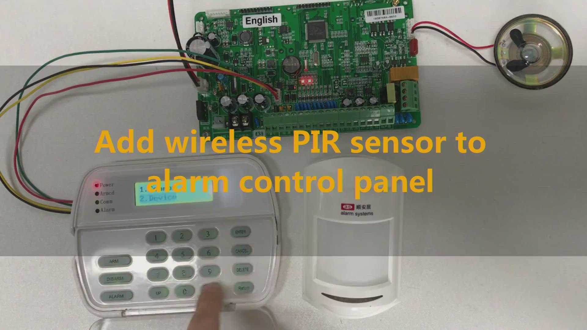 Add wireless PIR sensor to alarm control panel
