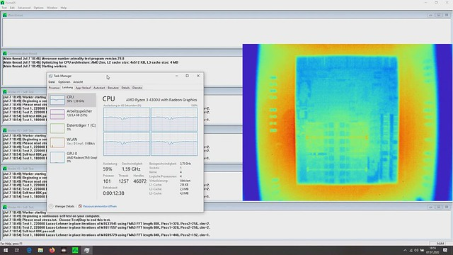 Ryzen 4300U varius workloads via thermal cam___short