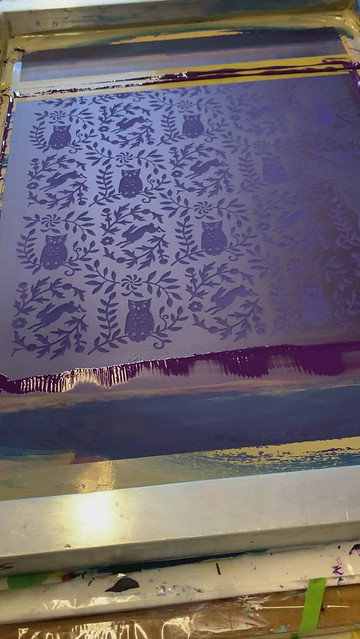 process video: hand-printed owl fabric
