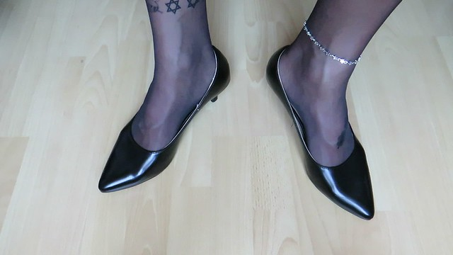 Andres Machado black leather kitten heels, nylons, tattoos and anklet - shoeplay and dangling