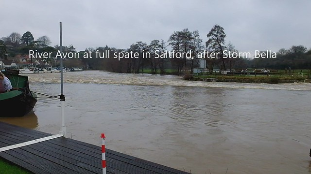 River Avon at Saltford in full spate after Storm Bella (video)