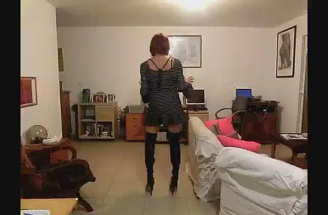 Black White Hoops Bell Sleeved Mini Dress black thigh high boots - 3