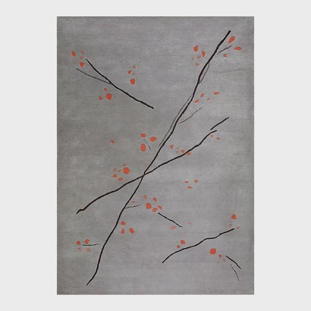 Hand-Tufted Abstract Floral Drawing Vinson Inari Grey/Orange Area Rug Carpet