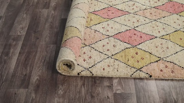 Luxury Moroc Tribal Traditional Geometric Knotted Beige/Pink Area Rug Carpet